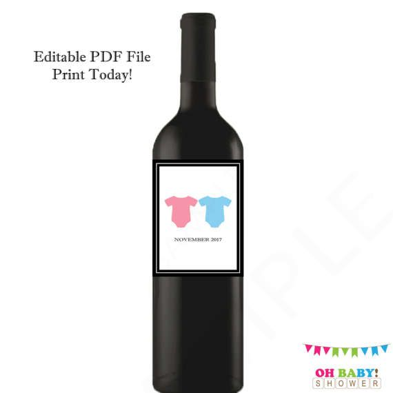 Pregnancy Announcement Twins Wine Label Pregnancy by OhBabyShower