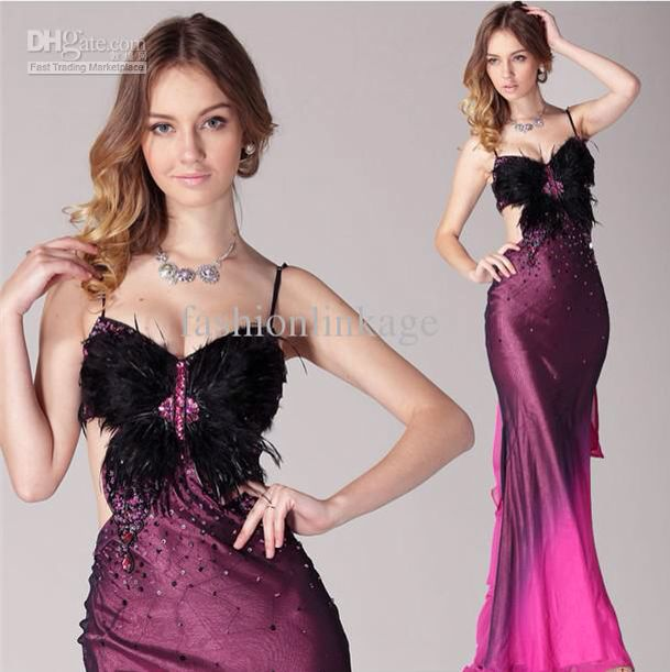 purple, pink ombre dress with feathers and an almost butterfly appearance. I can't get enough of it! love it.