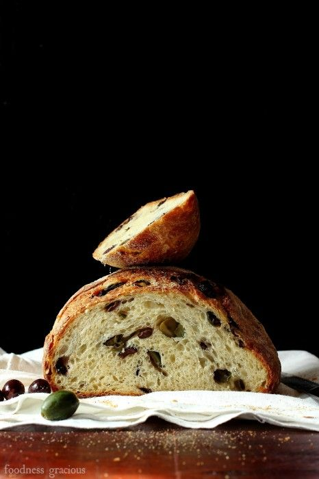 Crusty Homemade Mediterranean Olive Bread | Foodness Gracious