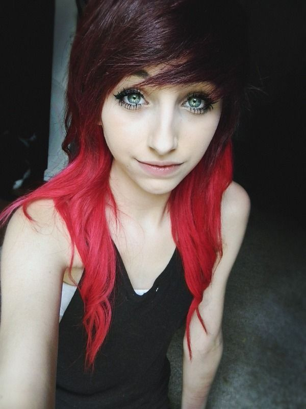 Black emo girl with red hair