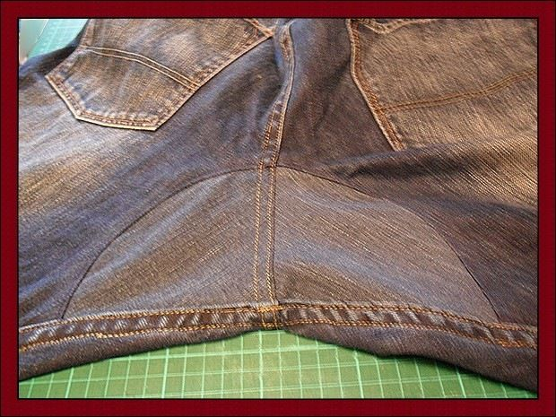 how to mend a hole in the crotch of jeans, instead of patches you sew jeans fabric inset. Very good tutorial