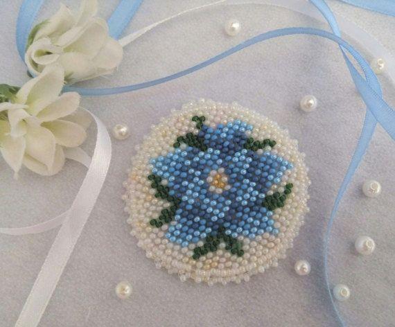 Beaded Flower Brooch Beaded blue brooch by FairyBeadsStore on Etsy