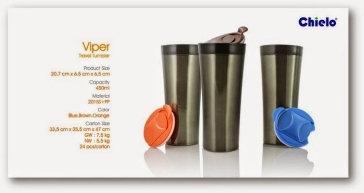 Viper tumbler Size: 20.7 x 6.5 x 6.5. Capacity: 450ml, Color: Blue, Brown, Orange