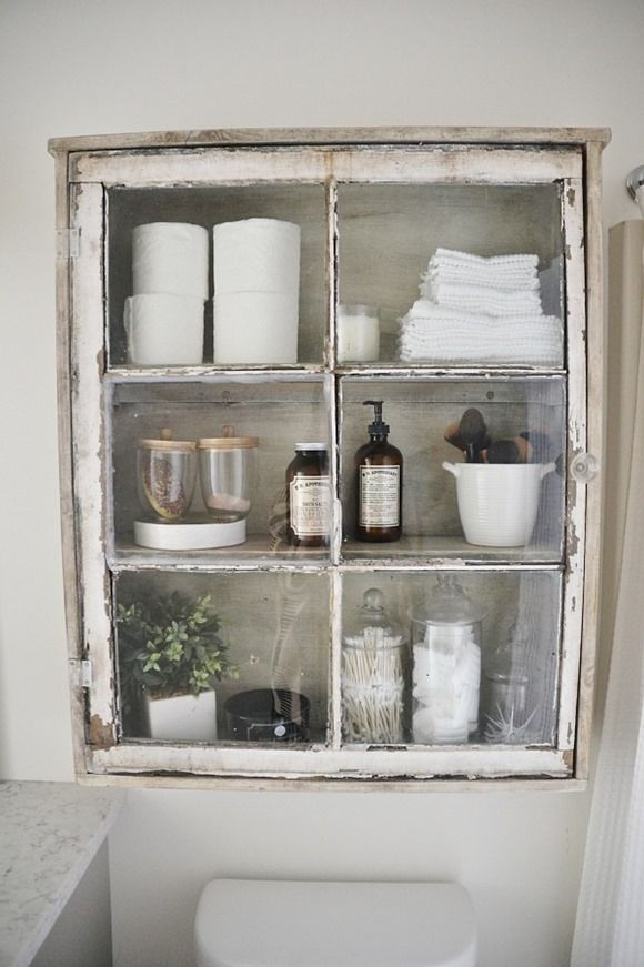 diy bathroom cabinet made from an old window