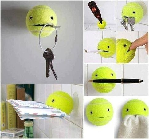 Instead of hammering hooks into walls, you can glue a suction cup to a tennis ball, and cut a small part of it open. Instant everything holder! | 16 Absurdly Simple Life Hacks That You Can Use Right Now
