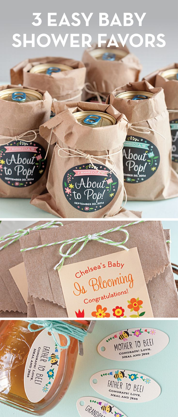 3 Easy Baby Shower Favor Ideas from the Evermine Blog. www.Evermine.com #Baby #BabyShower #Favors #DIY