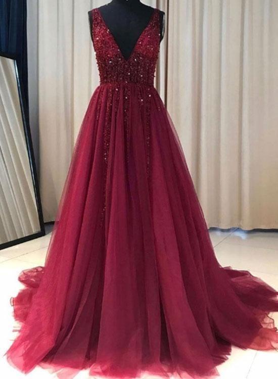 080de842ff2 Burgundy V-neckline Long Tulle Prom Dresses 2018