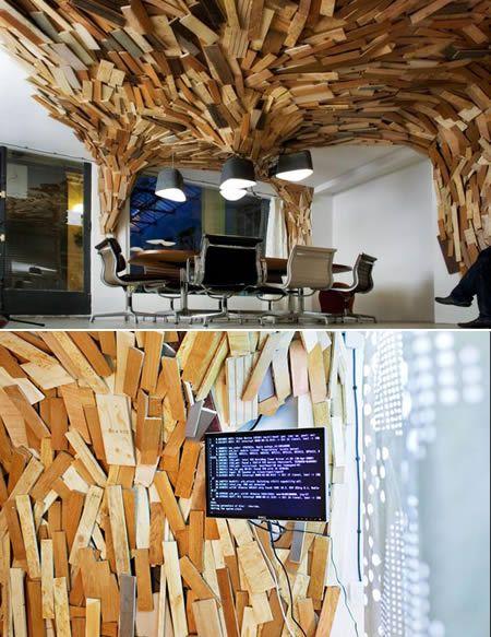 /: Offices Design, Wood Planks, Brick Wall, Decor Wood Panels Wall, Offices Interiors Design, Houses Ideas, Ceilings Design, Offices Ideas, Ceilings Ideas