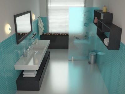 Бирюзовая ванная в стиле стиле модерн
