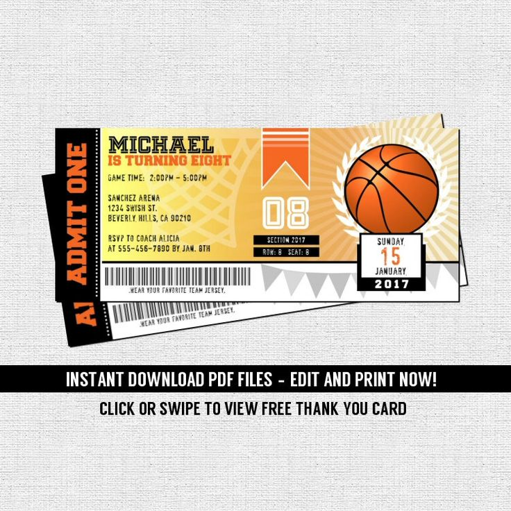 Basketball Ticket Invitations Birthday Party - (Instant Download) Editable and Printable PDF Files - Bonus Thank You Card by nowanorris on Etsy https://www.etsy.com/listing/460826336/basketball-ticket-invitations-birthday
