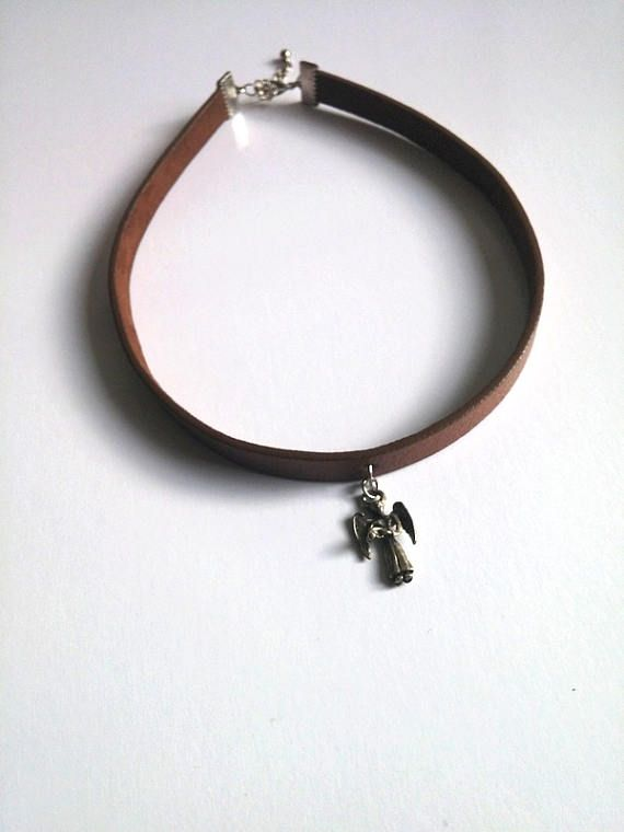 Brown Leather Choker Leather Necklace Angel Necklace
