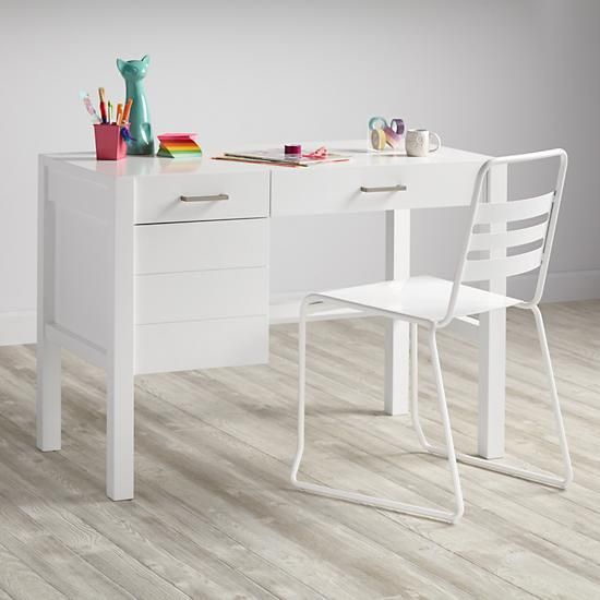 Uptown Modern Kids Desk White The Land Of Nod Modern