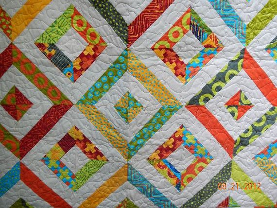 Summer In The Park Quilt Made Will Bright Colored Fabrics