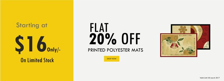 Save 20% Extra on Printed Polyester Mats and starting price are only $16.00 at  https://www.bathmatwarehouse.com.au/PrintedPolyesterMats?tracking=58a66bc577b41