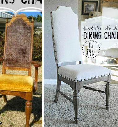 Knock off no-sew dining chairs // Régi étkezőszék átalakítása (bútor festés, bútor kárpitozás házilag ) // Mindy - craft & DIY tutorial collection
