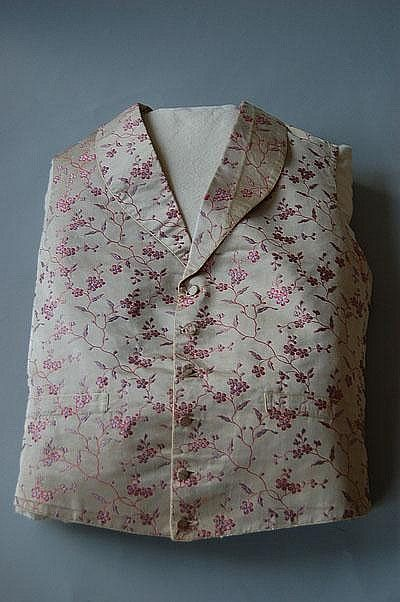woven silk gentlemens' waistcoat with pink and lilac flowers, narrow sloping lapels c.1850 http://www.artfact.com/auction-lot/two-woven-silk-gentlemens-waistcoats,-one-with-333-c-bb78b2ed21