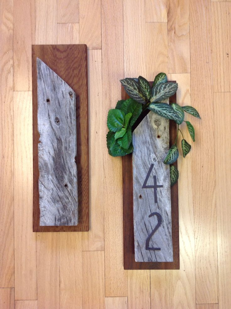 Rustic Barn Board and Cedar planter with house numbers. From the studio of JulieAnne Hage, St. Albert, Alberta, Canada