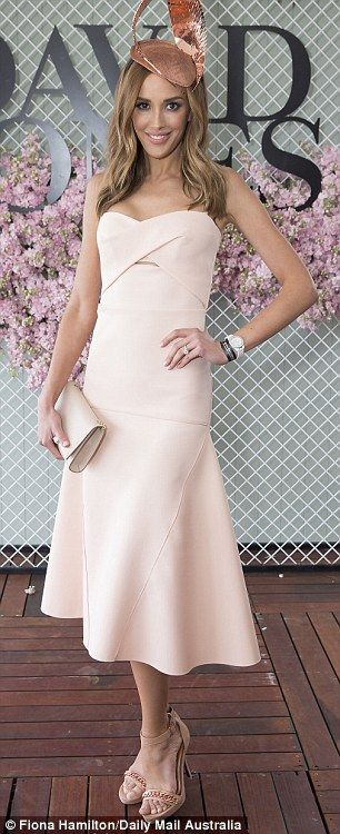 Rebecca Judd flaunts her Dion Lee dress at the David Jones marquee at the Caulfield Cup