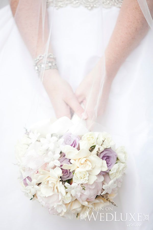 Warm Soft White Lavenders And Purples Bridal Bouquet With Playful Accents