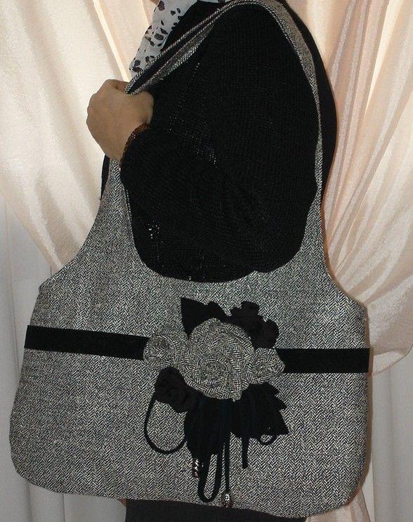 borsa in tessuto spigato con decorazione fiori