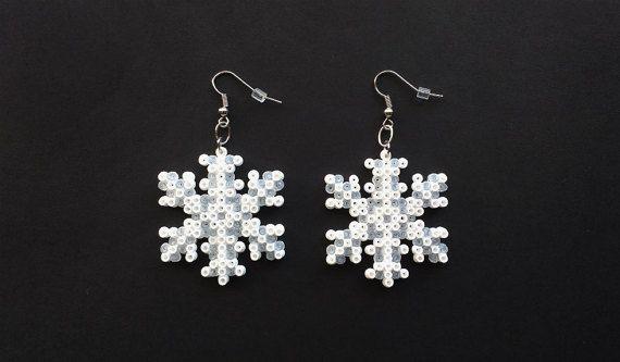 Snowflake Earrings Christmas Earrings Hook or by 8BitEarrings
