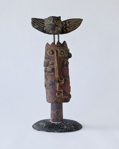 'Wise King' by British artist John Maltby (b.1936). Ceramic, 34 x 16 cm. via The New Craftsman Gallery