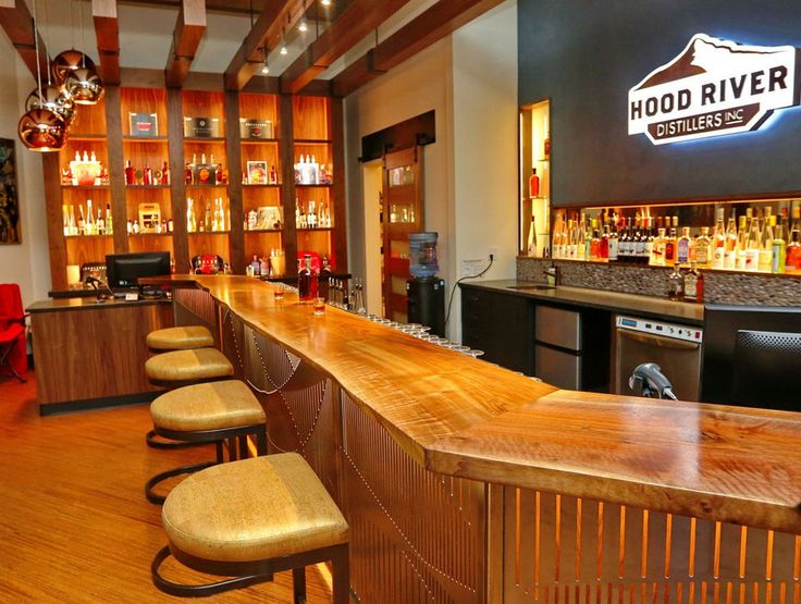 Hood River Distillers tasting room in downtown Hood River is inside a 1910 bank building