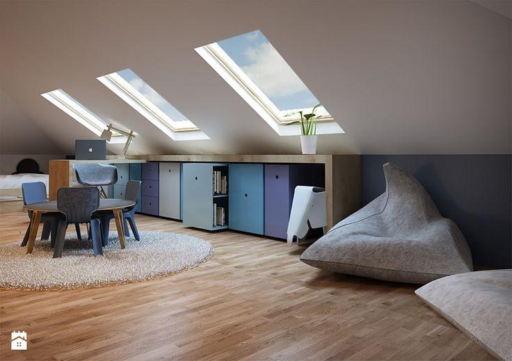 pok j na poddaszu dla dzieci pokoj chlopca na poddaszu pok j ch opca zdj cie od monika house. Black Bedroom Furniture Sets. Home Design Ideas