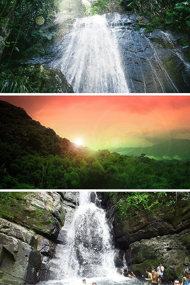 Waterfalls in El Yunque National Forest. Puerto Rico is one of the easiest places to get to from the United States. Click through to see what you can't miss while visiting the island!