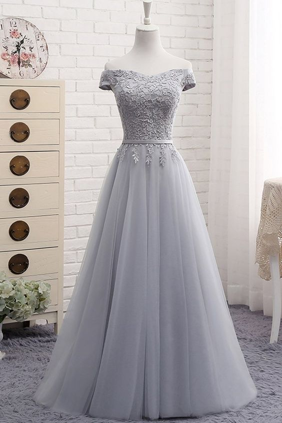 Gray tulle off shoulder long A-line senior prom