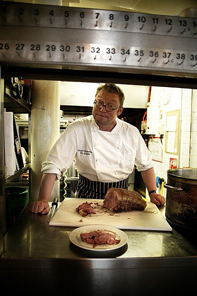 "Fergus Henderson and his Ham in Hay  English chef Fergus Henderson MBE opening the seminal St. John Bar & Restaurant with Trevor Gulliver in October 2004   Fergus his personal favourite. ""It has to be Ham in Hay: it's delicious and also really makes sense."