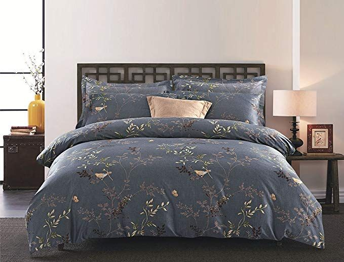 Wake In Cloud Gray Comforter Set Queen 3 Piece Birds Floral Flowers Leaves Pattern Printed On Dark Grey S Grey Comforter Sets Gray Duvet Cover Sham Bedding