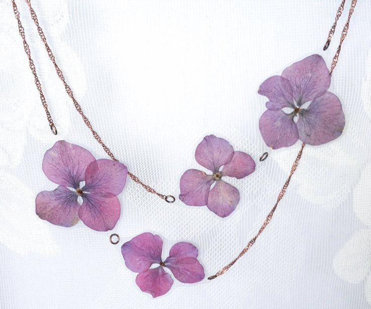Purple OR White Hydrangea Pressed Flower Petal Necklace - Thumbnail 2