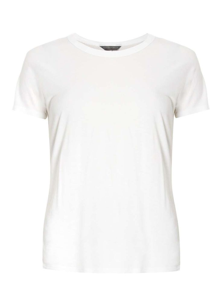 Womens Petites White Ovoid T-Shirt- White