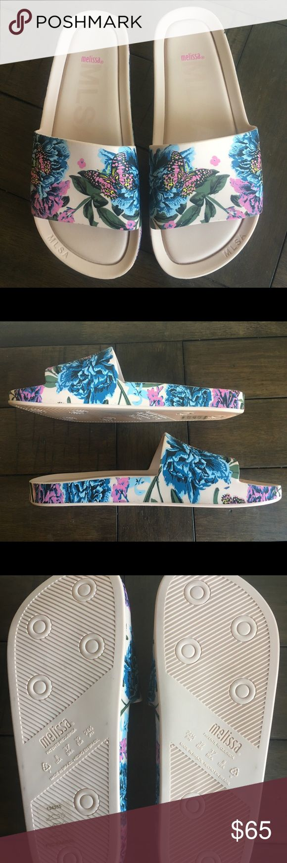 Brand New MELISSA Beach Slide III in Pink/Blue Printed Beach Slide Color: Blush Pink & Blue  Content: Rubber  -Padded Footbed -Rubber Sole -Made in Brazil -These sandals are new and have never been worn. I do not have the original box. Melissa Shoes Sandals