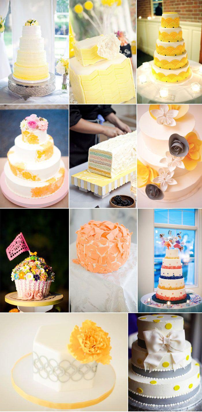 gâteaux de mariage jaunes yellow wedding cakes mariage jaunes jaunes ...