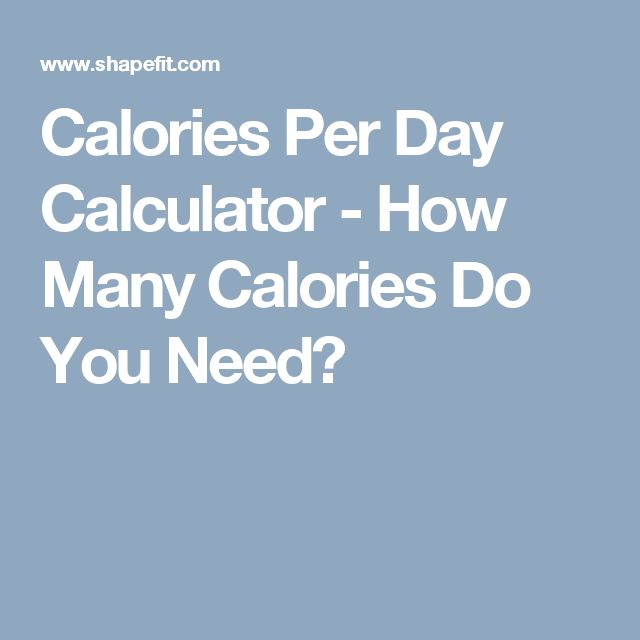 Calories Per Day Calculator - How Many Calories Do You Need?