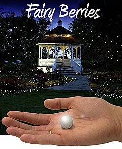 "So cool! ""Fairy Berries"" are glowing white LED balls to place anywhere in your garden for your next party or event. Place on the lawn, in the garden, hang from your trees or gazebo. Measuring .75 inch in diameter they produce a moving firefly or fairy light effect that is so unique. The water resistant design lets you place them in your pond, pool or floating centerpieces."