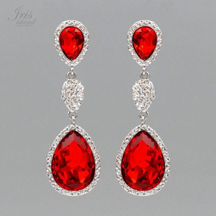 25 red chandelier pinterest rhodium plated red crystal rhinestone chandelier drop dangle earrings 6860 party aloadofball Gallery