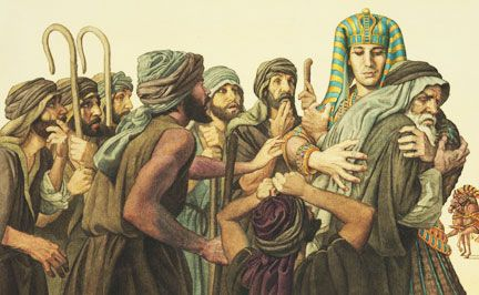 Joseph in Egypt, reunited with Jacob and his brothers.