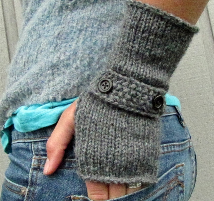 dark oxford grey hand knit fingerless sleeve gloves - available in more colors. $35.00, via Etsy.