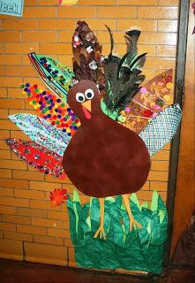 Classroom Door Turkey...each student decorates a turkey feather!