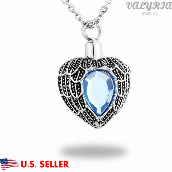Diamond Angels Near Heart Cremation Jewelry by QKSuperstore
