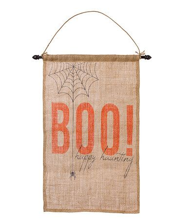 Look what I found on #zulily! 'Boo!' Natural Burlap Flag Wall Sign #zulilyfinds