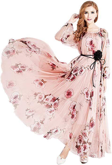 3ea34438eaf Amazon.com  Medeshe Women s Chiffon Floral Holiday Beach Bridesmaid Maxi  Dress Sundress (Large Tall