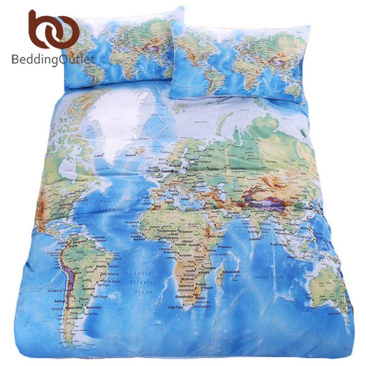 BeddingOutlet World Map Bedding Set Vivid Printed Blue Bed Cover Twill Cozy Home Textiles Multi Sizes 3pcs