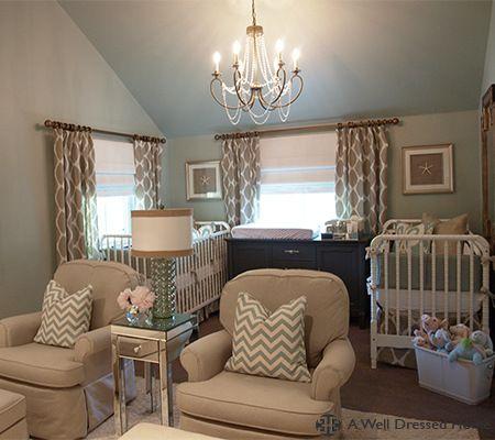 Twin Nursery + Sitting Room in warm neutral tones.