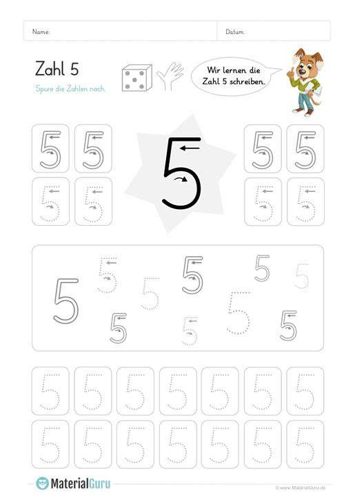 ein kostenloses mathe arbeitsblatt zum schreiben lernen der zahl 5 auf dem die kinder. Black Bedroom Furniture Sets. Home Design Ideas