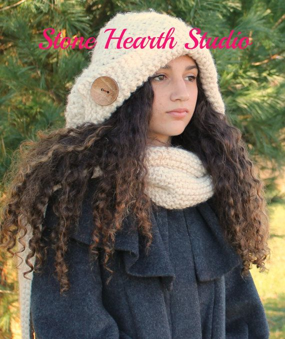 Suzette Hooded ScarfHooded Scarf PatternKnit by StoneHearthStudio