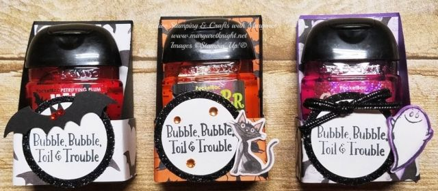 Halloween Hand Sanitizer Holder Using Stampin Up Toil Trouble